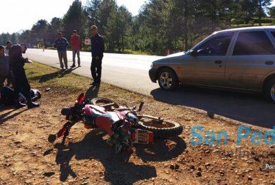TERCIADOS PARAÍSO: ACCIDENTE VIAL ENTRE MOTO Y AUTO