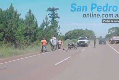 SAN PEDRO: ACCIDENTE ENTRE AUTO Y MOTO SOBRE RUTA 14