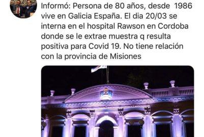ES FALSA  LA NOTICIA  QUE EN MISIONES HAY UN CASO DE COVID-19